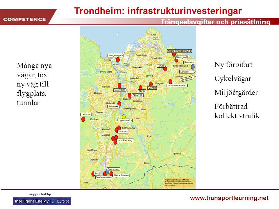 Trängselavgifter och prissättning www.transportlearning.net Trondheim: infrastrukturinvesteringar Många nya vägar, tex.