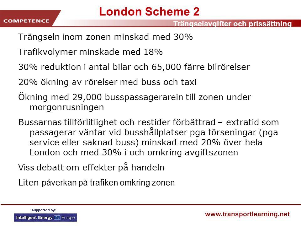 Trängselavgifter och prissättning www.transportlearning.net London Scheme 2 Trängseln inom zonen minskad med 30% Trafikvolymer minskade med 18% 30% reduktion i antal bilar och 65,000 färre bilrörelser 20% ökning av rörelser med buss och taxi Ökning med 29,000 busspassagerarein till zonen under morgonrusningen Bussarnas tillförlitlighet och restider förbättrad – extratid som passagerar väntar vid busshållplatser pga förseningar (pga service eller saknad buss) minskad med 20% över hela London och med 30% i och omkring avgiftszonen Viss debatt om effekter på handeln Liten påverkan på trafiken omkring zonen