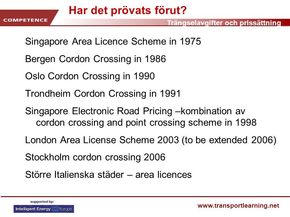 Trängselavgifter och prissättning www.transportlearning.net Har det prövats förut.