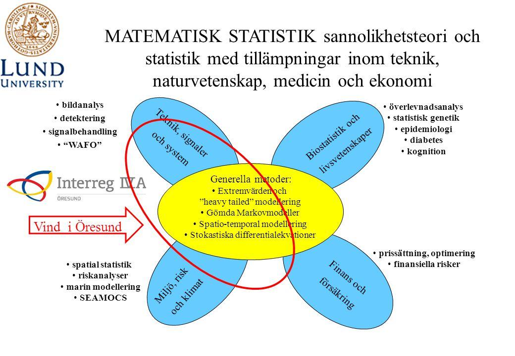 MATEMATISK STATISTIK sannolikhetsteori och statistik med tillämpningar inom teknik, naturvetenskap, medicin och ekonomi • prissättning, optimering • f