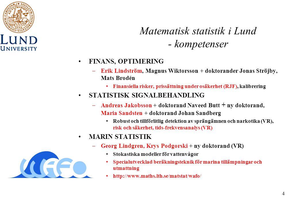4 Matematisk statistik i Lund - kompetenser •FINANS, OPTIMERING –Erik Lindström, Magnus Wiktorsson + doktorander Jonas Ströjby, Mats Brodén •Finansiel