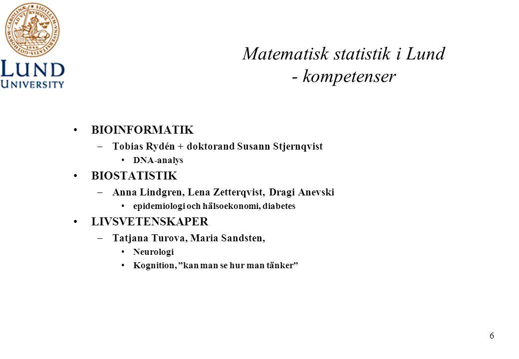 6 Matematisk statistik i Lund - kompetenser •BIOINFORMATIK –Tobias Rydén + doktorand Susann Stjernqvist •DNA-analys •BIOSTATISTIK –Anna Lindgren, Lena