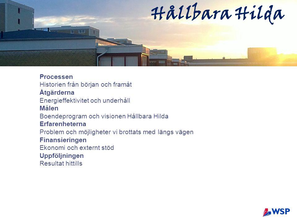 Hållbara Hilda Processen Historien från början och framåt Åtgärderna Energieffektivitet och underhåll Målen Boendeprogram och visionen Hållbara Hilda