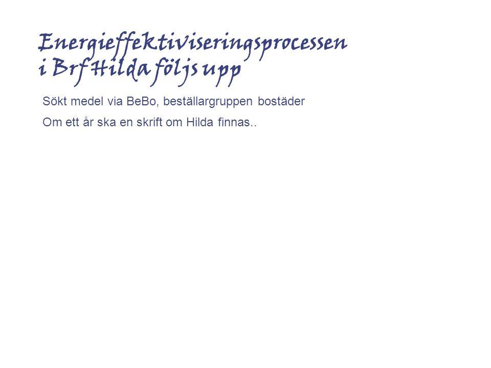 Energieffektiviseringsprocessen i Brf Hilda följs upp Sökt medel via BeBo, beställargruppen bostäder Om ett år ska en skrift om Hilda finnas..