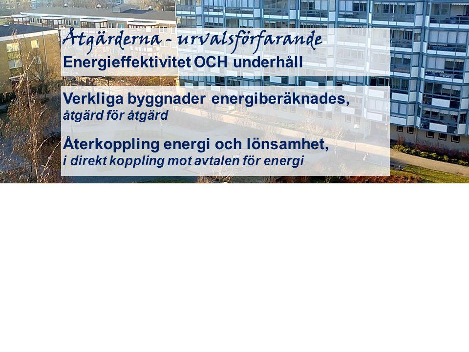 Åtgärderna - urvalsförfarande Energieffektivitet OCH underhåll Verkliga byggnader energiberäknades, åtgärd för åtgärd Återkoppling energi och lönsamhe