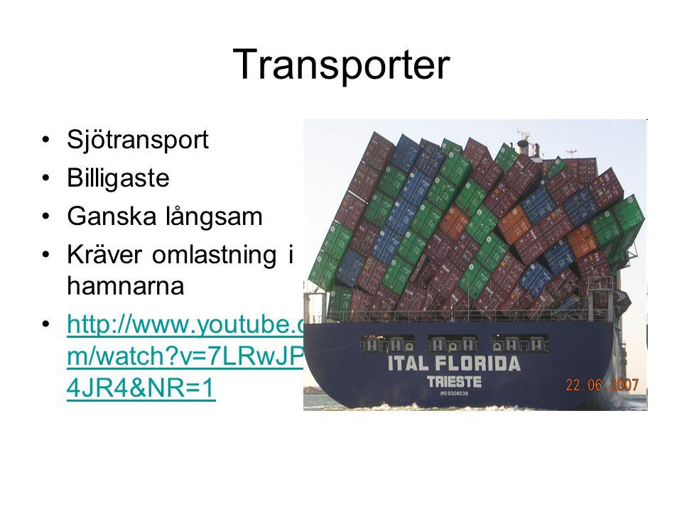 Transporter •Sjötransport •Billigaste •Ganska långsam •Kräver omlastning i hamnarna •http://www.youtube.co m/watch?v=7LRwJPu 4JR4&NR=1http://www.youtube.co m/watch?v=7LRwJPu 4JR4&NR=1