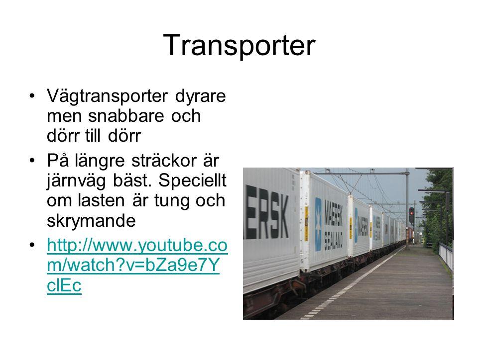 Transporter •Vägtransporter dyrare men snabbare och dörr till dörr •På längre sträckor är järnväg bäst.
