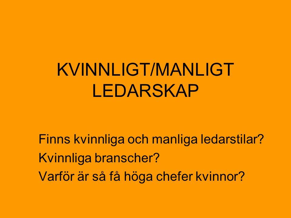 KVINNLIGT/MANLIGT LEDARSKAP Finns kvinnliga och manliga ledarstilar.