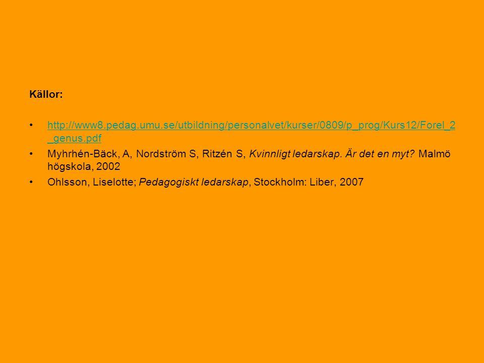 Källor: •http://www8.pedag.umu.se/utbildning/personalvet/kurser/0809/p_prog/Kurs12/Forel_2 _genus.pdfhttp://www8.pedag.umu.se/utbildning/personalvet/kurser/0809/p_prog/Kurs12/Forel_2 _genus.pdf •Myhrhén-Bäck, A, Nordström S, Ritzén S, Kvinnligt ledarskap.