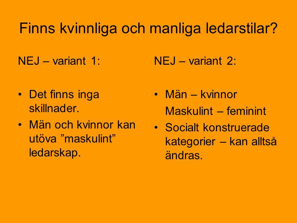 Finns kvinnliga och manliga ledarstilar.NEJ – variant 1: •Det finns inga skillnader.