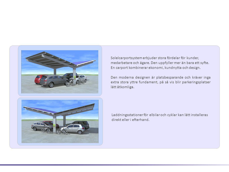 Facts Carports • Statistik beräknas i enlighet med DIN 1055 så att snö- och vindbelastningar anpassas till förhållanden på platsen • Dokumenterad säkerhet mot yttre påverkan för bilar • Markfundament med antingen ankarbult eller direkt gjutning i fundamenten • Hög kvalitet av galvaniserat stål • Mittcentrering av stödpelare garanterar säker manövrering och öppnande av bildörrar • Carportarna är expanderbara • På grund av den robusta konstruktionen erbjuds en 10 års produktgaranti