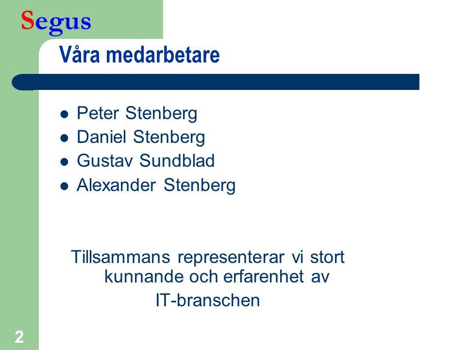 Segus 2 Våra medarbetare  Peter Stenberg  Daniel Stenberg  Gustav Sundblad  Alexander Stenberg Tillsammans representerar vi stort kunnande och erf