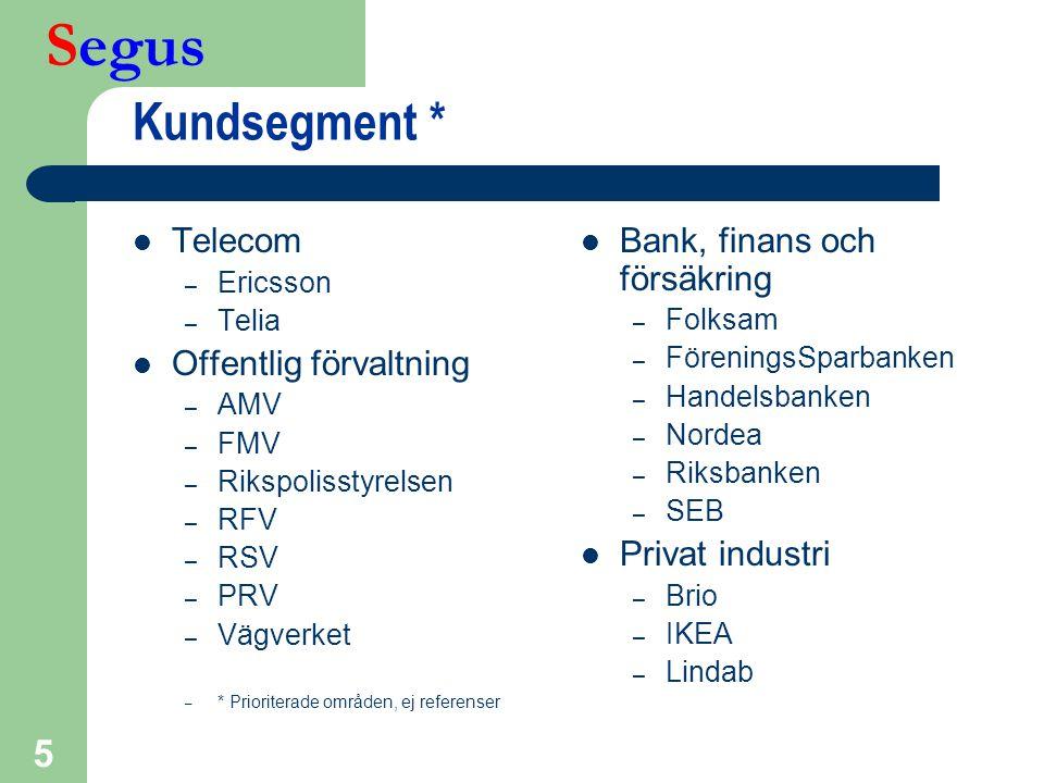 Segus 5 Kundsegment *  Telecom – Ericsson – Telia  Offentlig förvaltning – AMV – FMV – Rikspolisstyrelsen – RFV – RSV – PRV – Vägverket – * Priorite