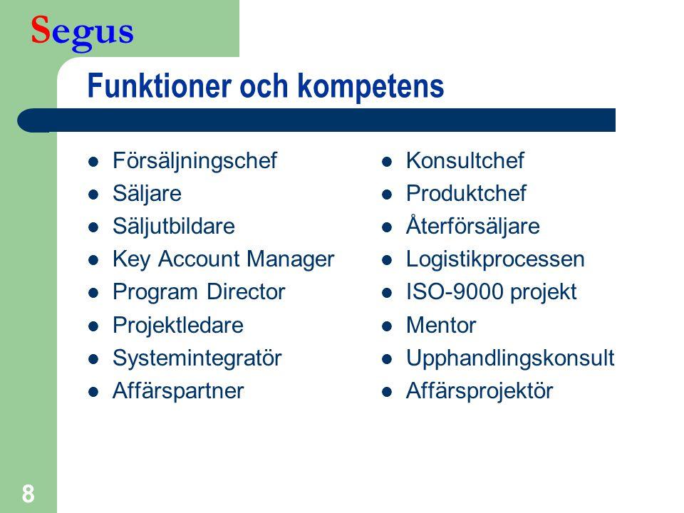 Segus 8 Funktioner och kompetens  Försäljningschef  Säljare  Säljutbildare  Key Account Manager  Program Director  Projektledare  Systemintegra