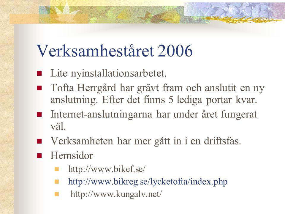Verksamheståret 2006  Lite nyinstallationsarbetet.