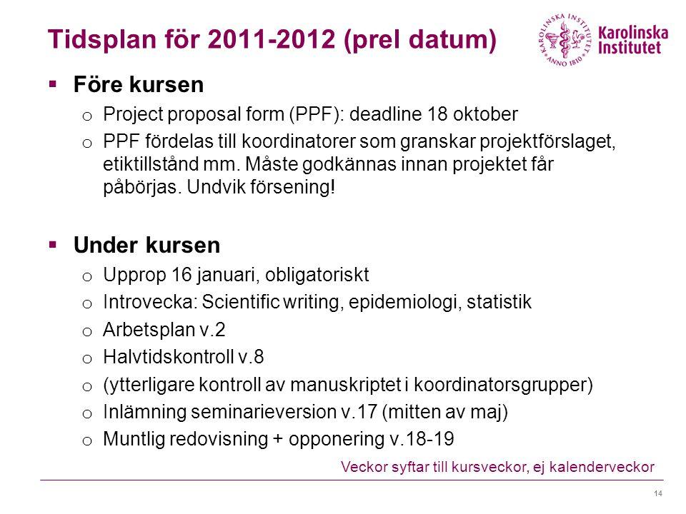 Tidsplan för 2011-2012 (prel datum)  Före kursen o Project proposal form (PPF): deadline 18 oktober o PPF fördelas till koordinatorer som granskar pr