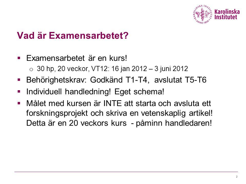 Vad är Examensarbetet?  Examensarbetet är en kurs! o 30 hp, 20 veckor, VT12: 16 jan 2012 – 3 juni 2012  Behörighetskrav: Godkänd T1-T4, avslutat T5-