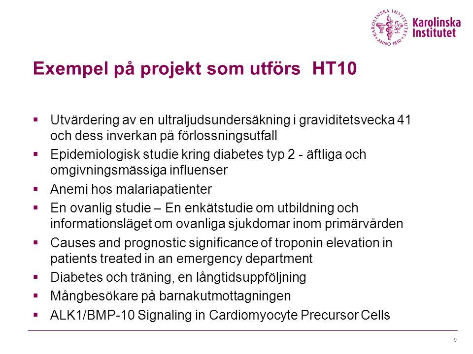 Exempel på projekt som utförs HT10  Utvärdering av en ultraljudsundersäkning i graviditetsvecka 41 och dess inverkan på förlossningsutfall  Epidemio