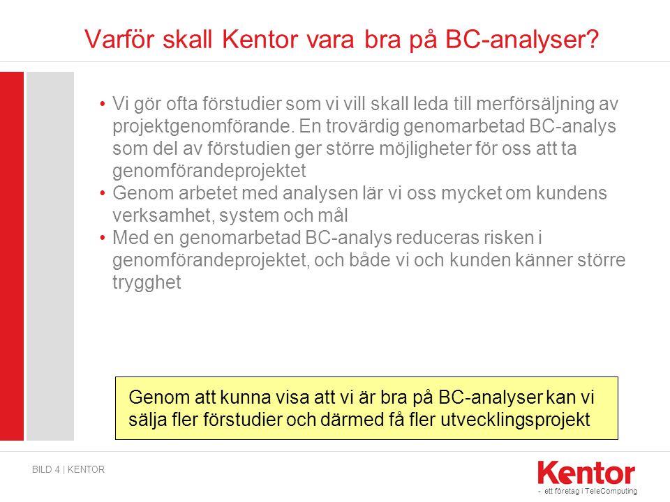 - ett företag i TeleComputing Varför skall Kentor vara bra på BC-analyser? •Vi gör ofta förstudier som vi vill skall leda till merförsäljning av proje