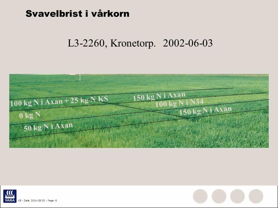 KE - Date: 2004-08-30 - Page: 5 Vad påverkar effekten av svavelgödsling  Utlakning av svavel under vinter och vår. Positiv S-effekt efter varma, nede