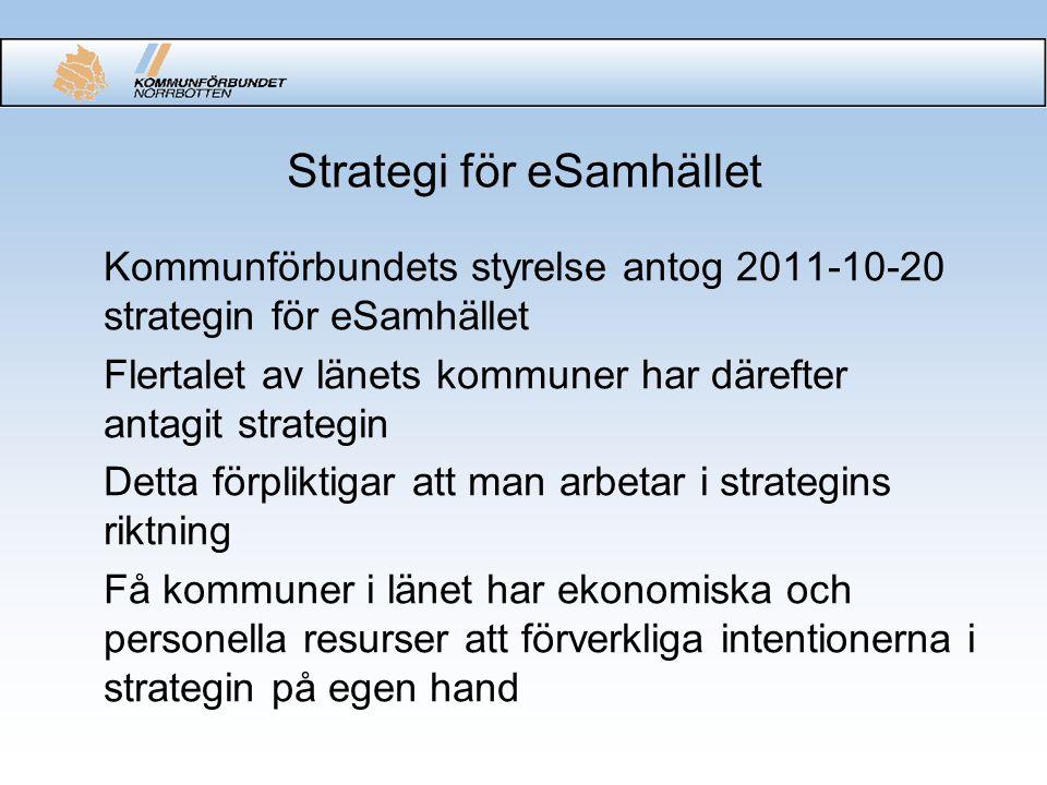 Samverkan ang strategin (1) •För att utreda möjligheter till samverkan i länet kopplat till strategin för eSamhället utsåg kommuncheferna och kommunalråden en arbetsgrupp (AG IT) bestående av 3 kommunalråd, 3 kommunchefer, en IT-chef samt två tjänsteman från Kommunförbundet •Omvärldsbevakning - studiebesök i Stockholm och Karlstad •En lägesrapport lämnades till styrelsen 2012-09-27 Styrelsen beslutade att ge AG IT i uppdrag att till styrelsemötet i december komma med ett konkret förslag för det gemensamma arbetet