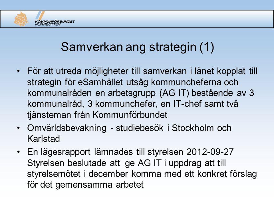 Samverkan ang strategin (2) •Kommunalråd- och kommunchefsträff i Kiruna 12-11-22 - representanter från Karlstad informerar om samverkan i Värmland - uppdrag till utredningsgruppen att titta närmare på samverkansalternativen IT Norrbotten resp gemensam nämnd •Utredningsgruppens förslag förankrad i AGIT