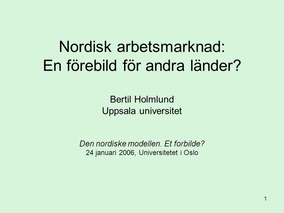 1 Nordisk arbetsmarknad: En förebild för andra länder? Bertil Holmlund Uppsala universitet Den nordiske modellen. Et forbilde? 24 januari 2006, Univer