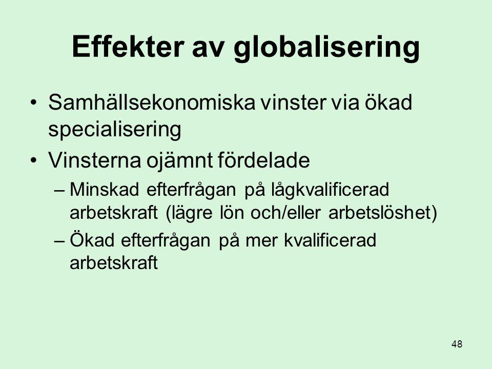 48 Effekter av globalisering •Samhällsekonomiska vinster via ökad specialisering •Vinsterna ojämnt fördelade –Minskad efterfrågan på lågkvalificerad arbetskraft (lägre lön och/eller arbetslöshet) –Ökad efterfrågan på mer kvalificerad arbetskraft