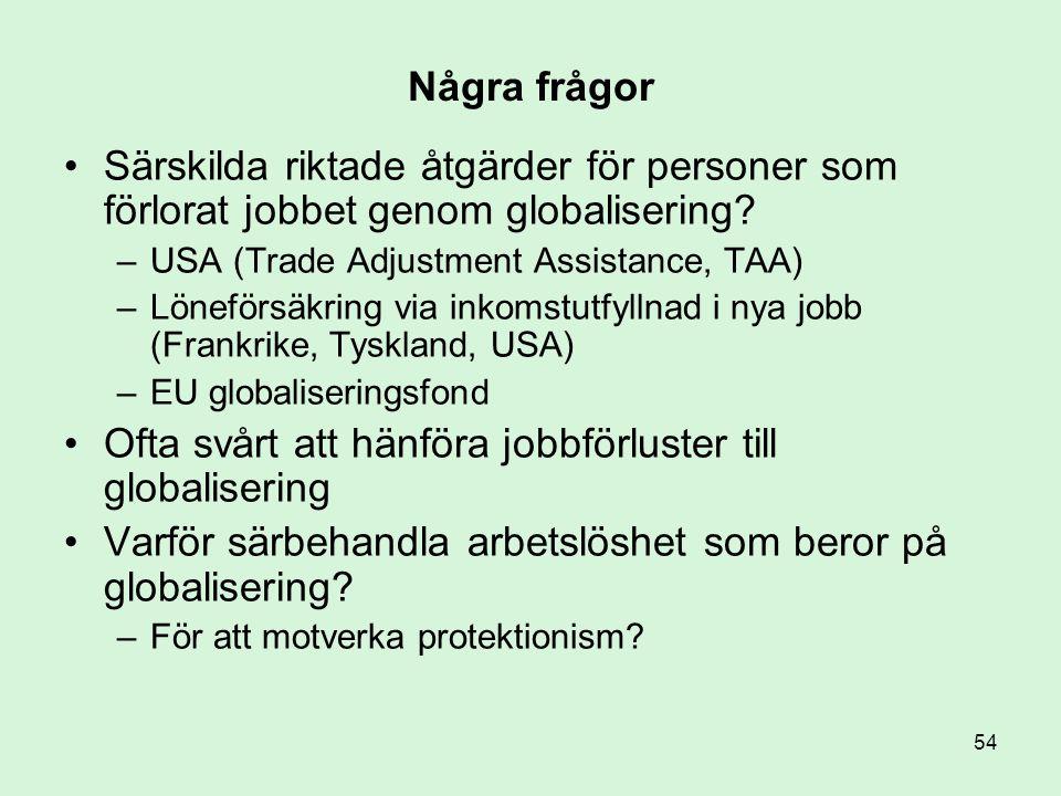 54 Några frågor •Särskilda riktade åtgärder för personer som förlorat jobbet genom globalisering? –USA (Trade Adjustment Assistance, TAA) –Löneförsäkr