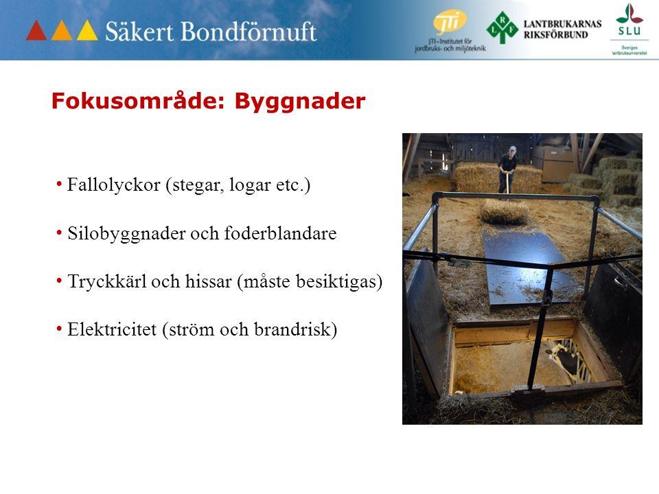 Fokusområde: Byggnader • Fallolyckor (stegar, logar etc.) • Silobyggnader och foderblandare • Tryckkärl och hissar (måste besiktigas) • Elektricitet (ström och brandrisk)