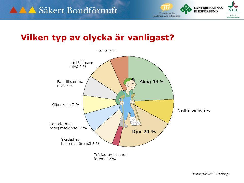 Skog 24 % Vedhantering 9 % Djur 20 % Träffad av fallande föremål 2 % Skadad av hanterat föremål 8 % Kontakt med rörlig maskindel 7 % Klämskada 7 % Fall till samma nivå 7 % Fordon 7 % Fall till lägre nivå 9 % Statistik från LRF Försäkring.