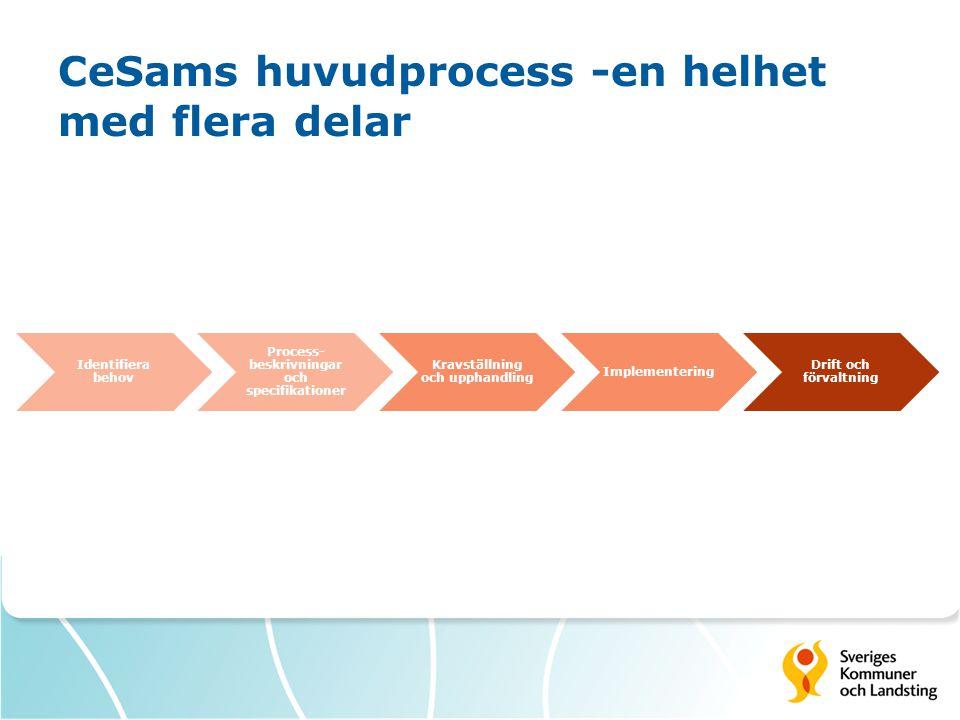CeSams huvudprocess -en helhet med flera delar Identifiera behov Process- beskrivningar och specifikationer Kravställning och upphandling Implementering Drift och förvaltning