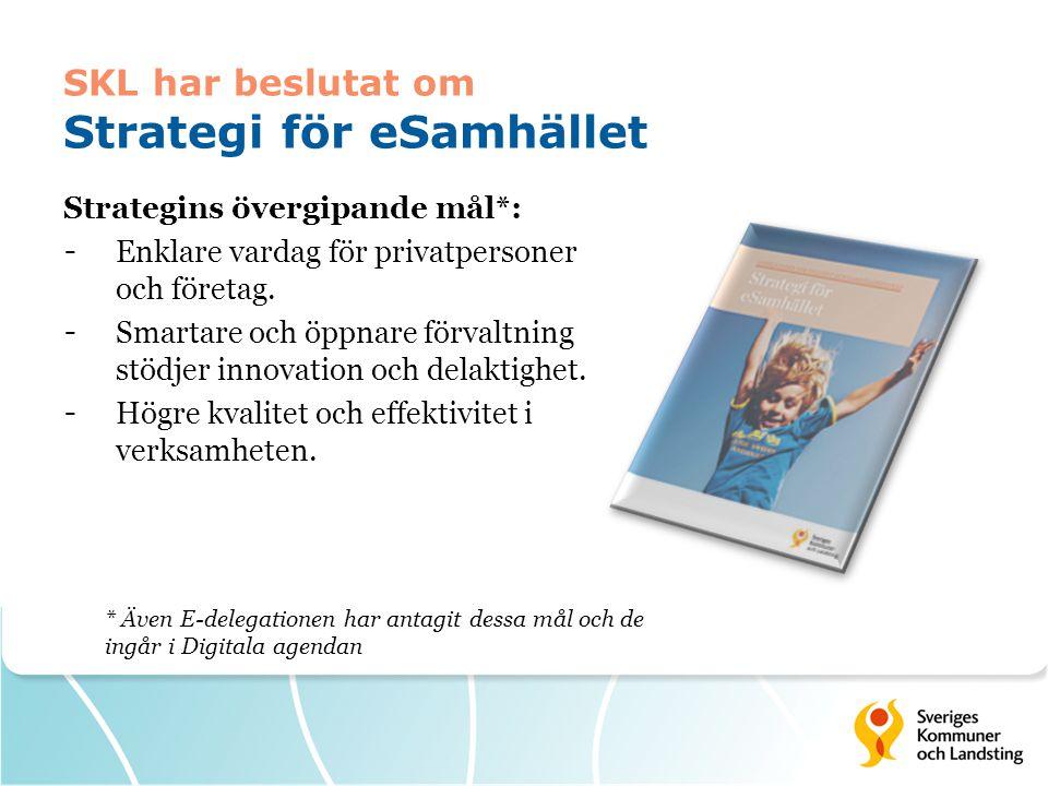 SKL har beslutat om Strategi för eSamhället Strategins övergipande mål*: - Enklare vardag för privatpersoner och företag.