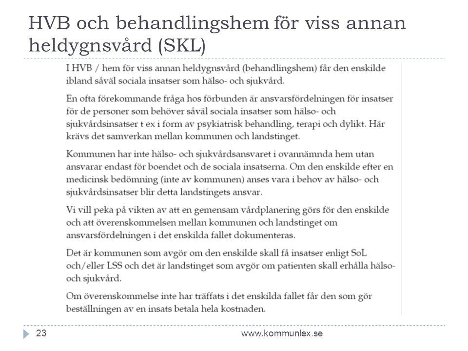 HVB och behandlingshem för viss annan heldygnsvård (SKL) www.kommunlex.se23