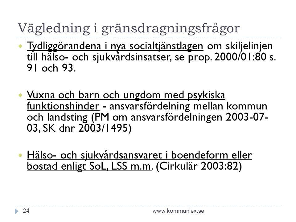 Vägledning i gränsdragningsfrågor www.kommunlex.se24  Tydliggörandena i nya socialtjänstlagen om skiljelinjen till hälso- och sjukvårdsinsatser, se p