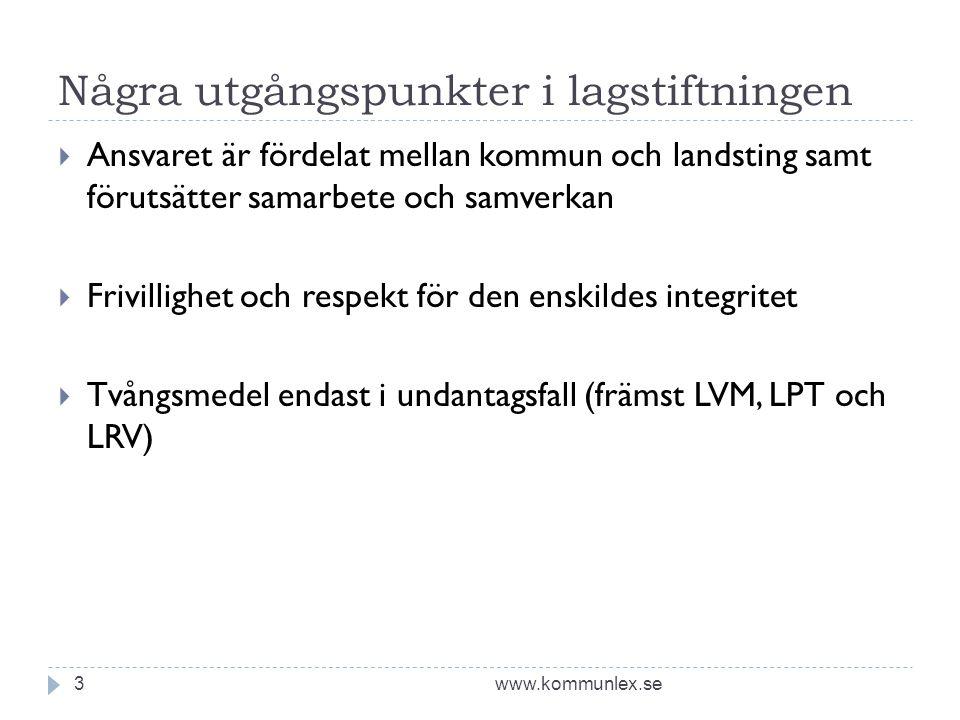 Några utgångspunkter i lagstiftningen www.kommunlex.se3  Ansvaret är fördelat mellan kommun och landsting samt förutsätter samarbete och samverkan 