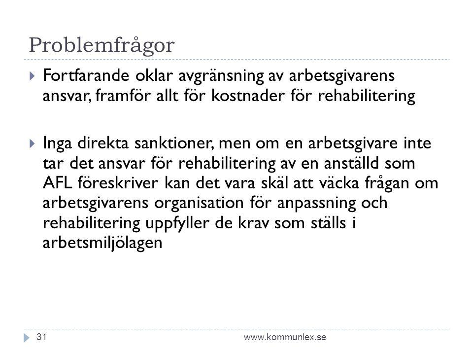 Problemfrågor www.kommunlex.se31  Fortfarande oklar avgränsning av arbetsgivarens ansvar, framför allt för kostnader för rehabilitering  Inga direkt