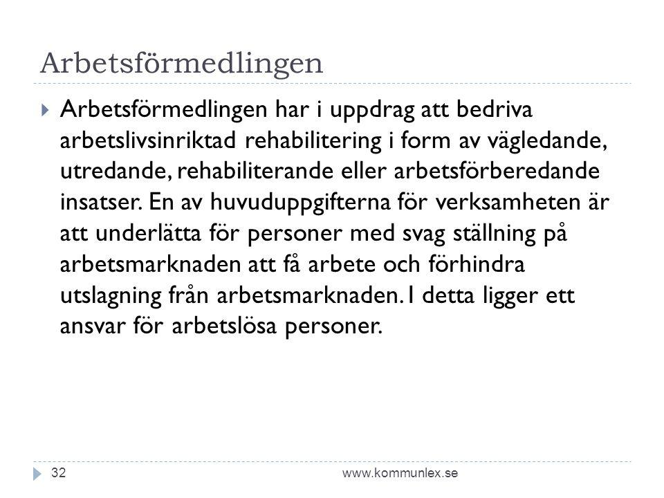 Arbetsförmedlingen www.kommunlex.se32  Arbetsförmedlingen har i uppdrag att bedriva arbetslivsinriktad rehabilitering i form av vägledande, utredande