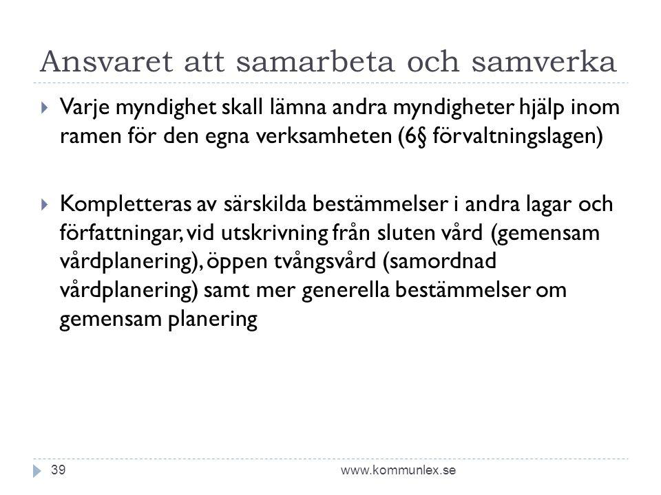 Ansvaret att samarbeta och samverka www.kommunlex.se39  Varje myndighet skall lämna andra myndigheter hjälp inom ramen för den egna verksamheten (6§
