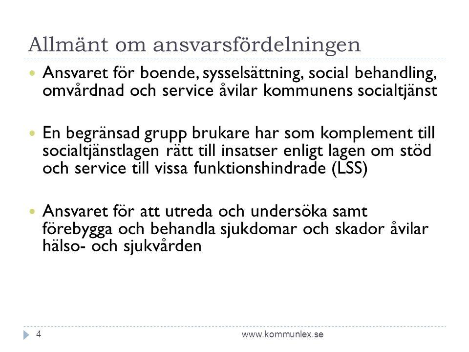 Allmänt om ansvarsfördelningen www.kommunlex.se4  Ansvaret för boende, sysselsättning, social behandling, omvårdnad och service åvilar kommunens soci