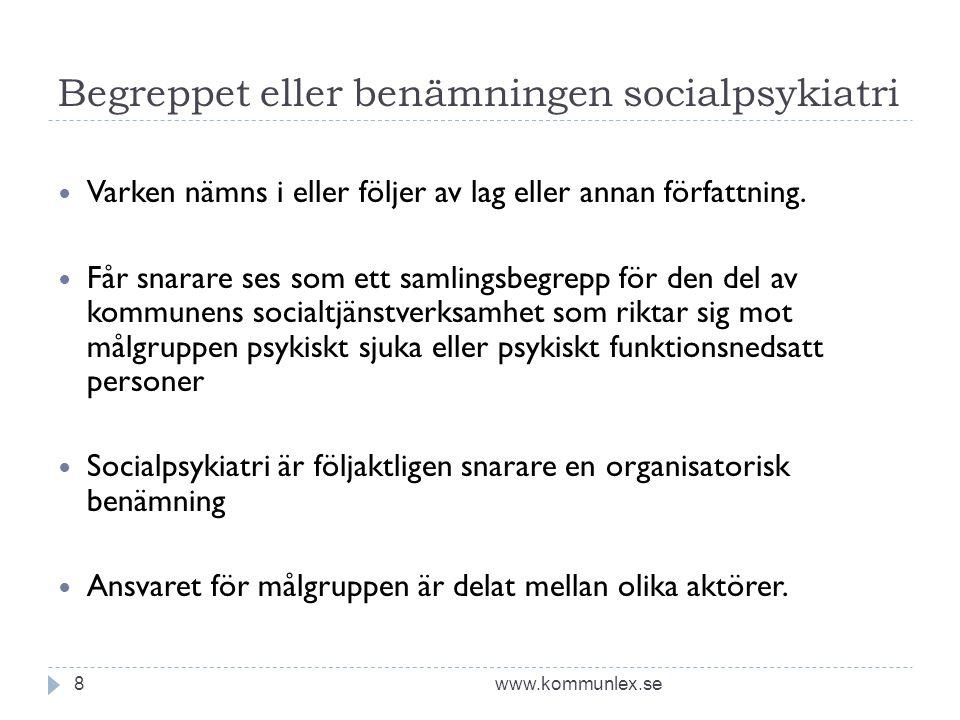 Begreppet eller benämningen socialpsykiatri www.kommunlex.se8  Varken nämns i eller följer av lag eller annan författning.  Får snarare ses som ett