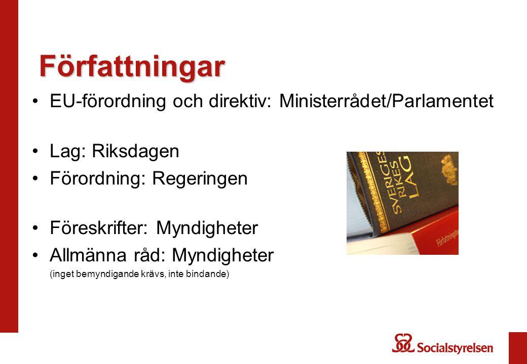 Författningar •EU-förordning och direktiv: Ministerrådet/Parlamentet •Lag: Riksdagen •Förordning: Regeringen •Föreskrifter: Myndigheter •Allmänna råd: Myndigheter (inget bemyndigande krävs, inte bindande)