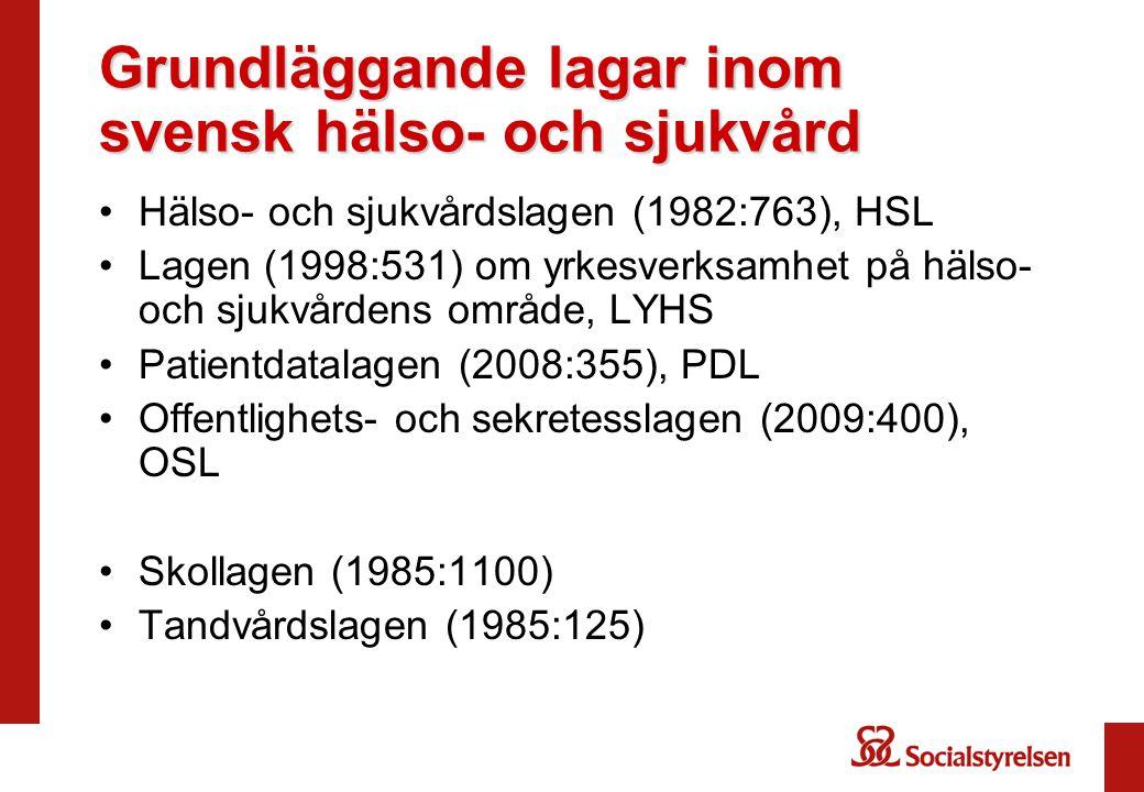 Grundläggande lagar inom svensk hälso- och sjukvård •Hälso- och sjukvårdslagen (1982:763), HSL •Lagen (1998:531) om yrkesverksamhet på hälso- och sjukvårdens område, LYHS •Patientdatalagen (2008:355), PDL •Offentlighets- och sekretesslagen (2009:400), OSL •Skollagen (1985:1100) •Tandvårdslagen (1985:125)