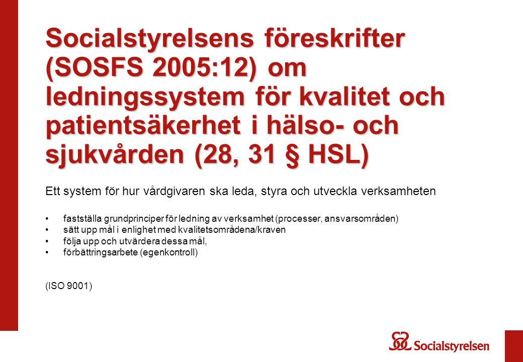 Socialstyrelsens föreskrifter (SOSFS 2005:12) om ledningssystem för kvalitet och patientsäkerhet i hälso- och sjukvården (28, 31 § HSL) Ett system för hur vårdgivaren ska leda, styra och utveckla verksamheten •fastställa grundprinciper för ledning av verksamhet (processer, ansvarsområden) •sätt upp mål i enlighet med kvalitetsområdena/kraven •följa upp och utvärdera dessa mål, •förbättringsarbete (egenkontroll) (ISO 9001)