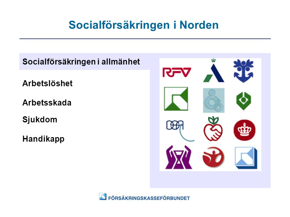 Socialförsäkringen i Norden Socialförsäkringen i allmänhet Arbetslöshet Arbetsskada Sjukdom Handikapp