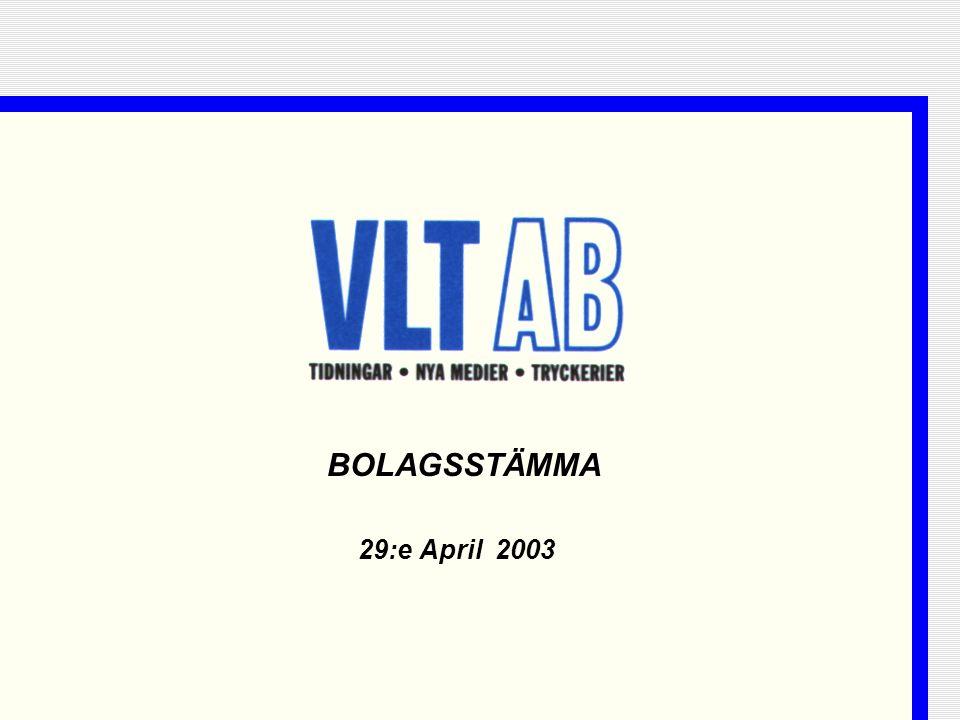 2 Agenda  Koncernen VLT  VLT 2002  Första kvartalet 2003