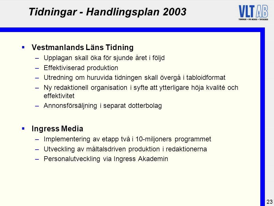 23 Tidningar - Handlingsplan 2003  Vestmanlands Läns Tidning –Upplagan skall öka för sjunde året i följd –Effektiviserad produktion –Utredning om hur