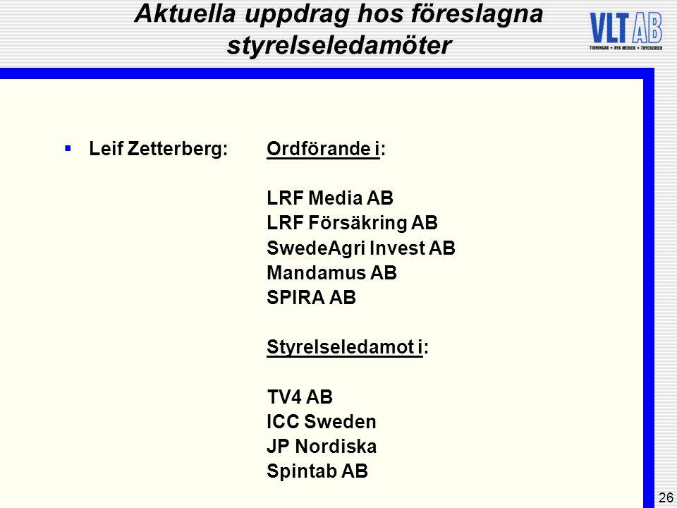 26 Aktuella uppdrag hos föreslagna styrelseledamöter  Leif Zetterberg:Ordförande i: LRF Media AB LRF Försäkring AB SwedeAgri Invest AB Mandamus AB SP