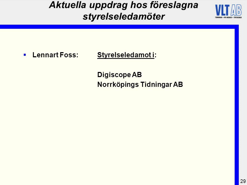 29 Aktuella uppdrag hos föreslagna styrelseledamöter  Lennart Foss:Styrelseledamot i: Digiscope AB Norrköpings Tidningar AB