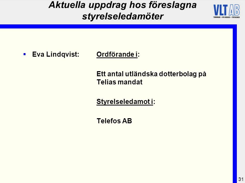 31 Aktuella uppdrag hos föreslagna styrelseledamöter  Eva Lindqvist:Ordförande i: Ett antal utländska dotterbolag på Telias mandat Styrelseledamot i: